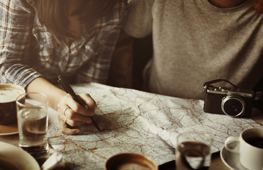 Friends Finding Location Map Travel Concept