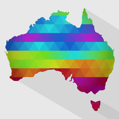 Map of Australia with colored geometric shapes, triangles, forming the colors of the rainbow. With long shadow.
