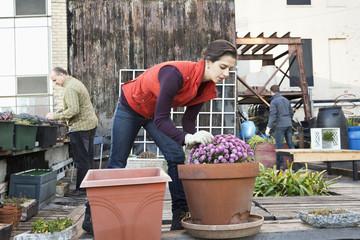 Woman working in urban garden