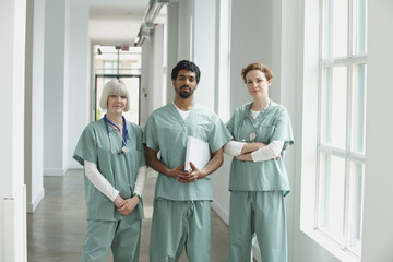 Surgeons standing together in hospital