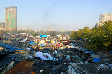 City slum rooftops in large city