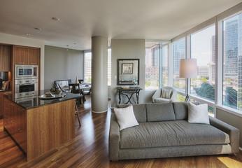 Open floor plan in luxury highrise apartment