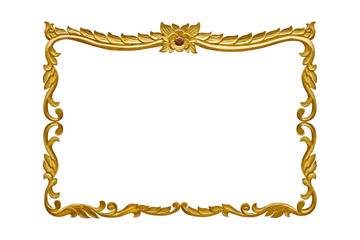 Gold wooden frame on white background with clipping path