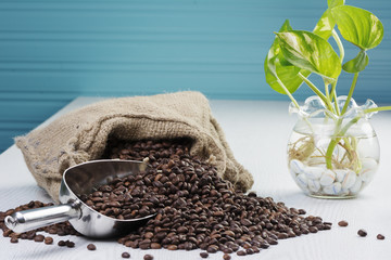 Scatter coffee bean on the table