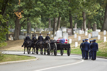 Carriage pulling casket to military cemetery