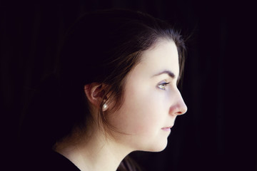 Profile of serious woman