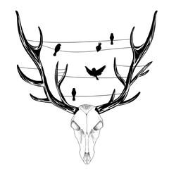 The Deer Skull. Sketch Artwork, Creative Idea, Innovative art, Concept Illustration, Tattoo Design.