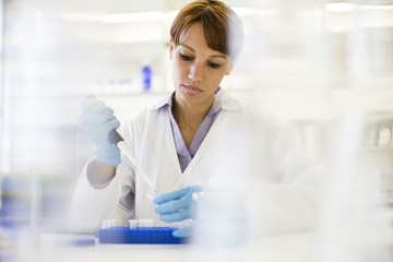 Mixed race scientist pipetting sample into tube in laboratory