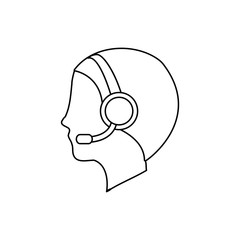 operator assistant man headphone call center technical service icon. Isolated and flat illustration