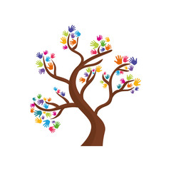 human hand tree gesture shape icon. Isolated and flat illustration. Vector graphic