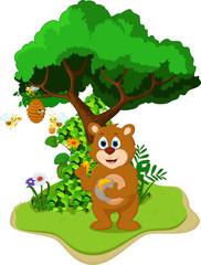 cartoon bear holding honey pot