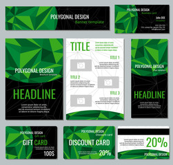 Corporate identity vector template with green polygonal elements