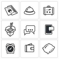 Vector Set of Travel Icons. Visa, Hotel, Baggage, Food, Excursion, Booking, Date trip, Finance, Lodging.