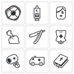 Vector Set of Drug Overdose Icons. Help, Dose, Addict, Heroin, Shaver, Hospital, Medicine, Ambulance, Religion.