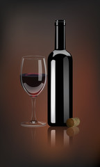 Vector red wine bottle with glass and wine cork on dark background