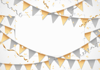 Gold and silver party background with white board Vector