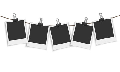Blank photo frame hanging on a line with paper clip Vector