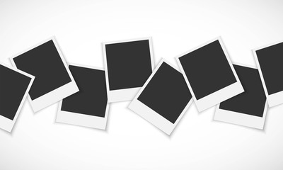 Pile of photo frames on white background Vector