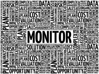 MONITOR word cloud collage, business concept background