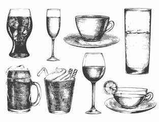Black and white drink. Set of drink with water, beer, wine glasses and coffee and tea cups.