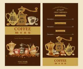 Coffee menu hand drawn vector illustration