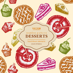 Desserts seamless pattern ink hand drawn sketch vector