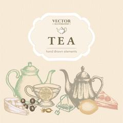 Tea ceremony hand drawn vector illustration