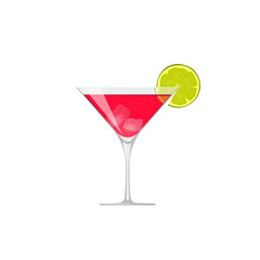 Cocktail icon vector isolated, flat glass of cold fresh beverage with lime and ice pieces