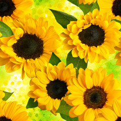 Seamless photo sunflowers pattern on vibrant yellow watercolor