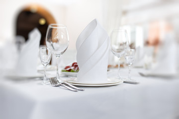Stylish table set for wedding dinner