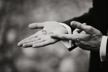 Groom showing two wedding rings on his palm