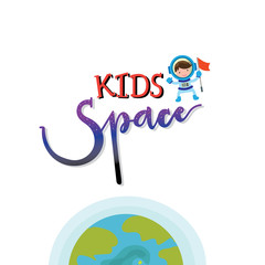 kids space , kid zone and toy shop hand drawn design letter