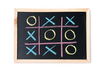 tic tac toe on a black chalkboard isolated