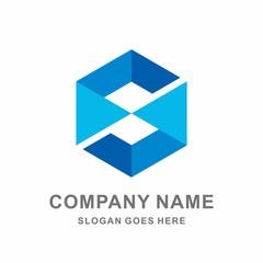 Monogram Letter S Geometric Hexagon Vector Logo Design Template