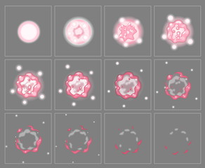 Pink fire explosion special effect fx animation frames sprite sheet. Toxic fireball explosion frames for flash animation in games, video and cartoon.