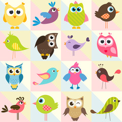 background with funny birds and owls