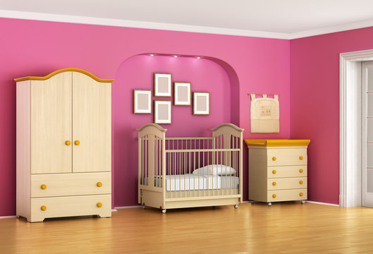 Children's room in red and pink tones with furniture. Kids for g