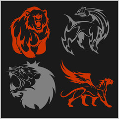 Lion head, griffin fyl bear tattoos and designs.