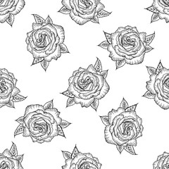 Seamless pattern with black and white rose isolated. Pattern of monochrome rose. Vector rose. Design for card, mothers day, wedding, birthday, textile, web, wallpaper, wraping