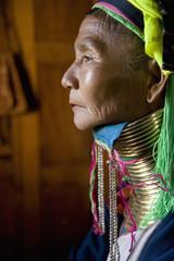 Burmese woman wearing traditional neck rings