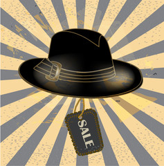 Poster with image of   gentleman hat`s  sale