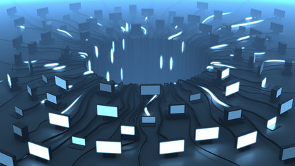 Multiple devices and network cable signals, 3D rendering. Blue background