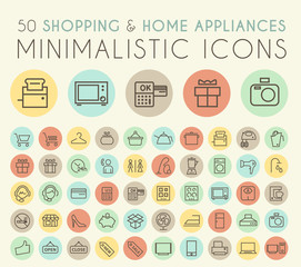 Set of 50 Isolated Universal Minimal Simple Thin Line Shopping and Home Appliances Icons on Circular Color Buttons.