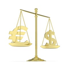 Isolated golden scales with dollar and euro currency. American and european finance. Measuring of market stability. 3D rendering.