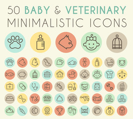Set of 50 Isolated Universal Minimal Simple Vintage Thin Line Baby and VeterinaryIcons on Circular Color Buttons.