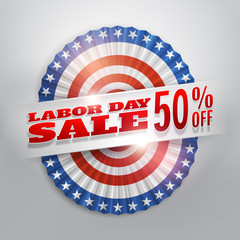 Labor day sale banner with america flags bunting.Vector eps10