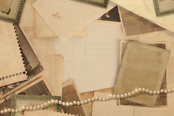 Old vintage archive with photos and pearls
