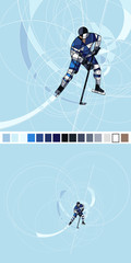 Abstract silhouette of Ice hockey player in blue and white dress, made with circles. Vector image on blue background. Copy of full image for all uses.