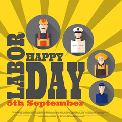 Vector poster of Happy Labor Day with different professions on the yellow background with rays.