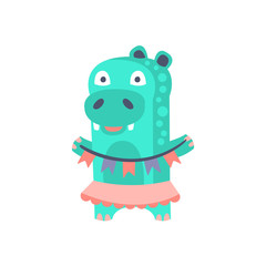 Hippo With Party Attributes Girly Stylized Funky Sticker